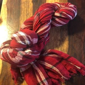 Talbots Red/Cream Plaid Scarf